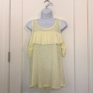 Tops - Cold Shoulder Top with Ruffle Neckline Size S